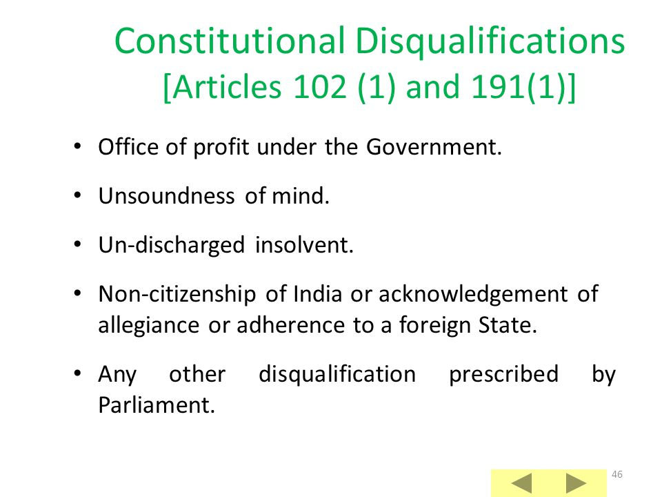 Constitutional Disqualifications [Articles 102 (1) and 191(1)]